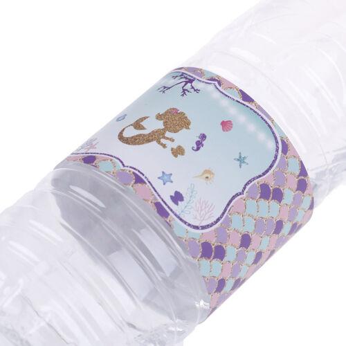 24pcs//pack Water Bottle Label Mermaid Water Bottle Stickers Kid Birthday DeFDUS