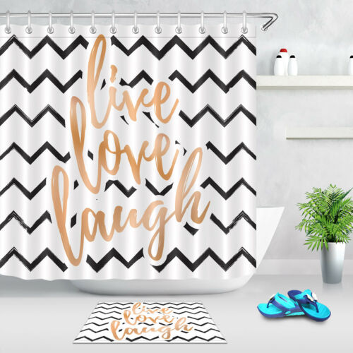Shower Curtain Liner Waterproof Fabric Curve Stripe Art Font Bathroom Set Hooks
