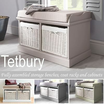 Tetbury Bench With 2 White Baskets, Tetbury Furniture White Storage Bench With Brown Baskets And Cushion