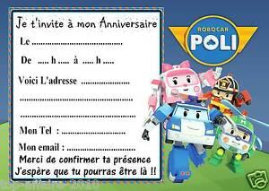 Autres 5 Cartes Invitation Anniversaire Robocar Poli 02 Eidos Net