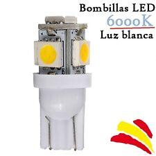 Bombillas LED T10 W5W SMD Luz Blanca 6000K 6W Xenon Coche Interior Posicion