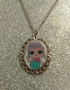 Silver Charm Necklace Pendant LOL L.O.L Surprise Doll Leading Baby