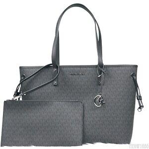 ab8405c18b Michael Kors JET SET Black Logo Drawstring Large Tote Shopping Bag ...