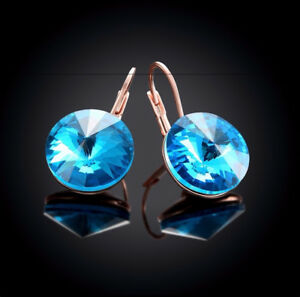 db2971dc0 Large 15 MM Round Bella Earring Turquoise Blue Swarovski Crystal ...