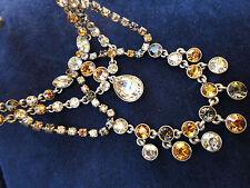 Sparkling Givenchy Rhinestone Bib Necklace Citrine Amber Smokey color
