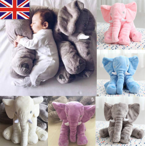 Baby-Child-Elephant-Lumbar-Pillow-Long-Nose-Doll-Pillow-Soft-Plush-Stuff-Toys-UK