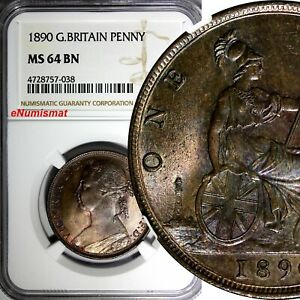 Great-Britain-Victoria-1837-1901-Bronze-1890-1-Penny-NGC-MS64-BN-KM-755