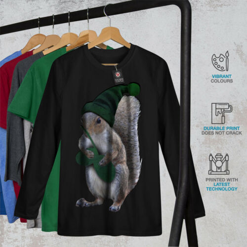 Green Squirrel Hat Women Long Sleeve T-shirt NEWWellcoda