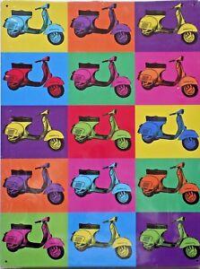 PLAQUE-METAL-PUBLICITAIRE-vintage-SCOOTER-VESPA-POP-ART-40-X-30-CM