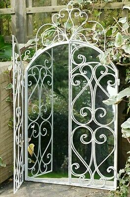 Mirror Window Metal Distressed Soft White Vintage Style Shabby Chic Garden