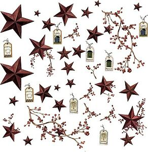 COUNTRY-STARS-40-Big-Removable-Wall-Decals-RUSTIC-BERRIES-Room-Decor-Stickers