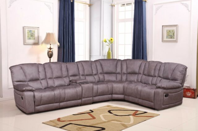 Betsy Furniture Large Microfiber Reclining Sectional Living Room Sofa Grey  8019