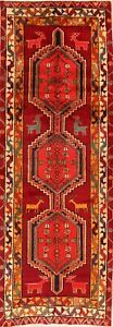 Tribal-Geometric-Ardebi-Hand-Knotted-Animal-Design-10-ft-Runner-Rug-Wool-4x10-ft