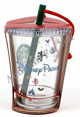 NEW Disney Parks Starbucks Clear Cold Cup with Straw Christmas Tree Ornament