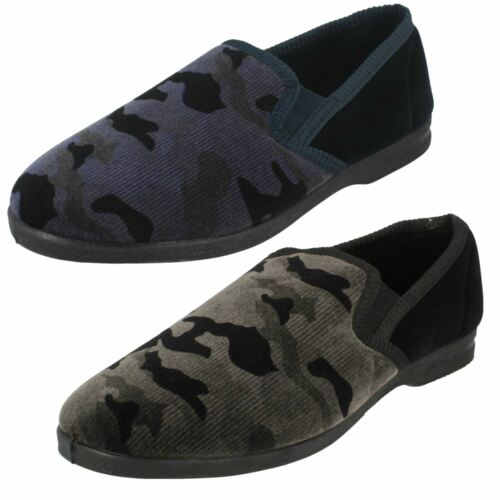 Mens Spot On Slip On Camouflage Full Slippers