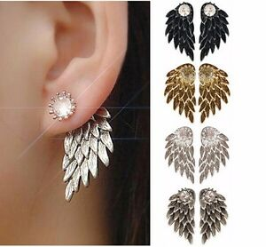 Upscale-Gothic-Cool-Jewelry-Angel-Wings-Crystal-Crown-Inlaid-Alloy-Piercing-Stud
