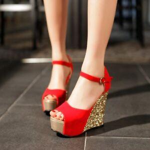 d49f8b62a2c Womens Open Toe High Platform Wedge Heels Ankle Strap Suede Sandal ...