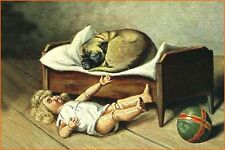 Antique Pug w Doll Picture by Voigt Miiunchen 1907 - LARGE New Blank Note Cards