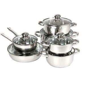 Set de Ollas Acero Inoxidable 12 Piezas con Tapa Cristal Batería Cocina Sopa
