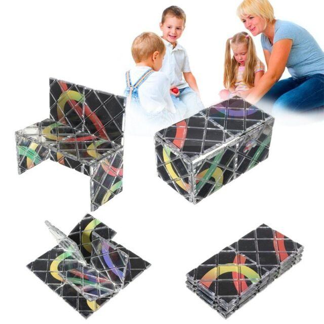 2Pcs 8 Cube Plastic Panel 3 Ring Rubik Master Folding Puzzle Toy Ghost Hand AU