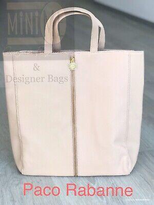 PACO RABANNE PINK//NUDE HANDBAG TOTE SHOPPER BAG BEACH BAG GOLD STRAPS *NEW