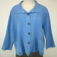 Focus Casual Life Plus Size Top Waffle Sky Blue Jacket Button Down Collar 3x