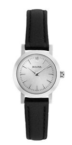 Bulova Women's Quartz Silver Tone Dial Black Leather Band 24mm Watch 96X127