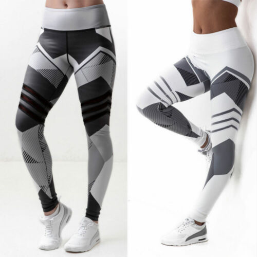 Women Yoga Pants Fitness Leggings Running Gym Workout Sports Trousers UK JOG