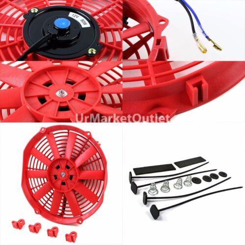 """Universal 14/"""" Red Slim Reversible Electric Radiator Motor Cooling Fan+Mounting"""