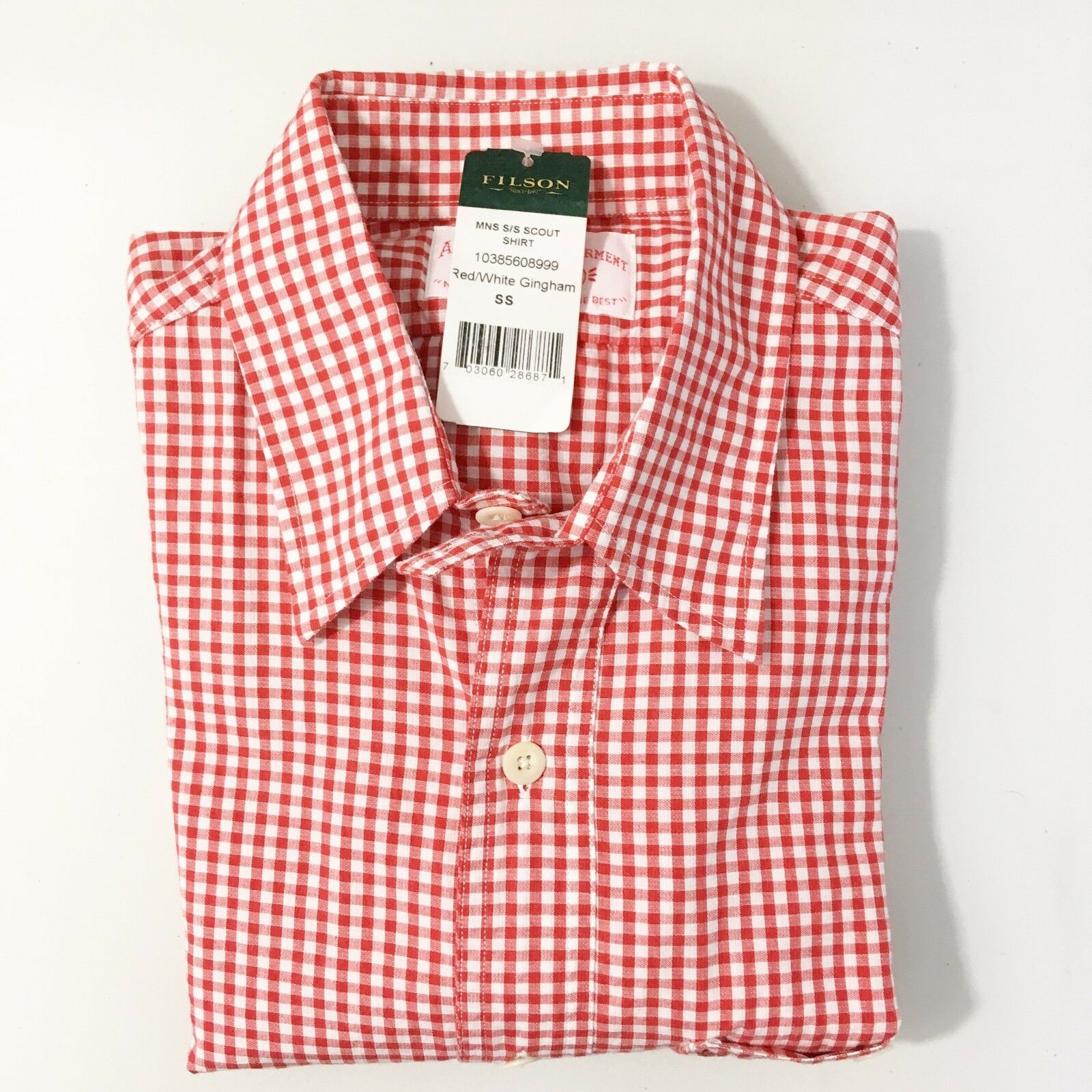 NWT CC Filson Mens Sz S Scout Shirt Red White Gingham Short Sleeve Camp