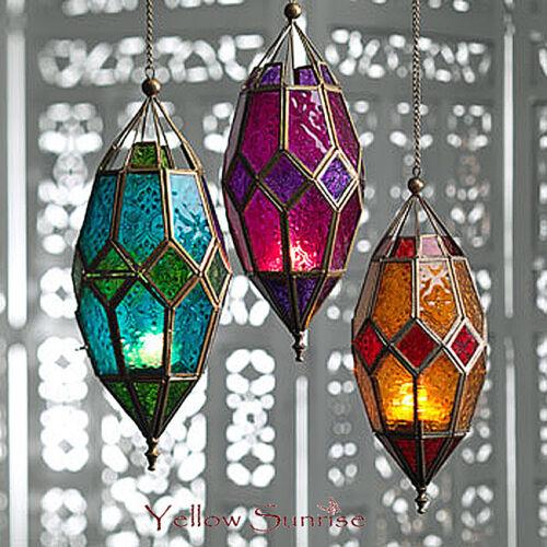 Fair Trade Moroccan Pearl Hanging Lantern Size w 13 x d 13 x h 28 cm