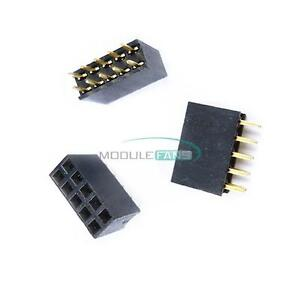 100Pcs-2-54mm-2X5-Pin-Double-Row-Female-Straight-Header-Pitch-Socket-Strip-New