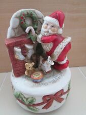 Santa Claus Rotating Music Box Porcelain Bisque Chimney Fireplace Coming to Town