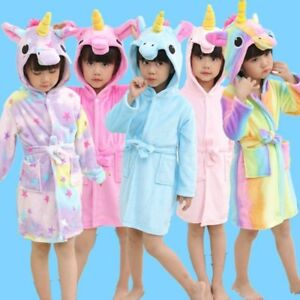 1b32fec4db Image is loading Kids-Robe-Girls-Bathrobe-Animal-Unicorn-Bathrobes-Soft-