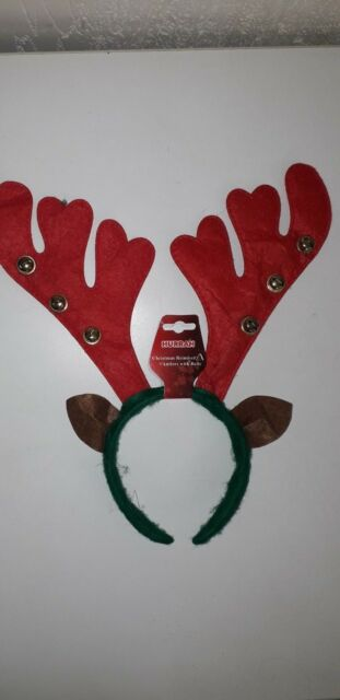 CHRISTMAS REINDEER ANTLER BOPPERS ON HEADBAND WITH BELLS AND HOLLY FANCY DRESS