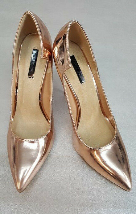 Ex Asos Lost Ink Freya pink gold Curved Court shoes size UK (S6 1)