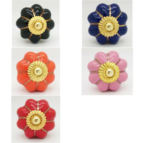Coloured Flower Ceramic Door Knob Porcelain Cupboard Pull Kitchen Handle 4512