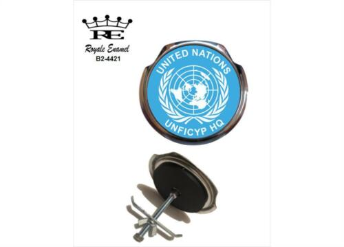 ROYALE CAR GRILL BADGE UNITED NATIONS UNFICYP HQ B2.4421