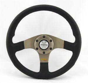 Momo-Leder-Sportlenkrad-Tuner-silber-32-320mm-schwarz-anthrazit-steering-wheel-v