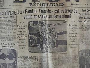 LYON RÉPUBLICAIN 1932 LA Famille Volante est Retrouvée saine & sauve au Groëland