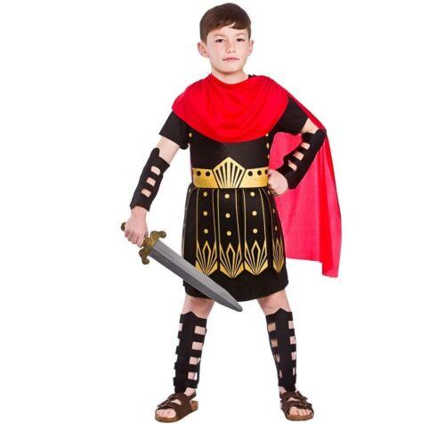 Child ROMAN SOLDIER Gladiator Boys Fancy Dress Book Week Costume Greek Age 3-13