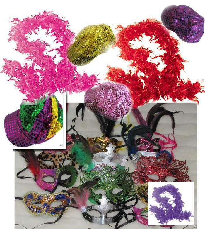 MARDI GRAS masquerade venetian favors mask boas hats MASKS LOT of 50 party props