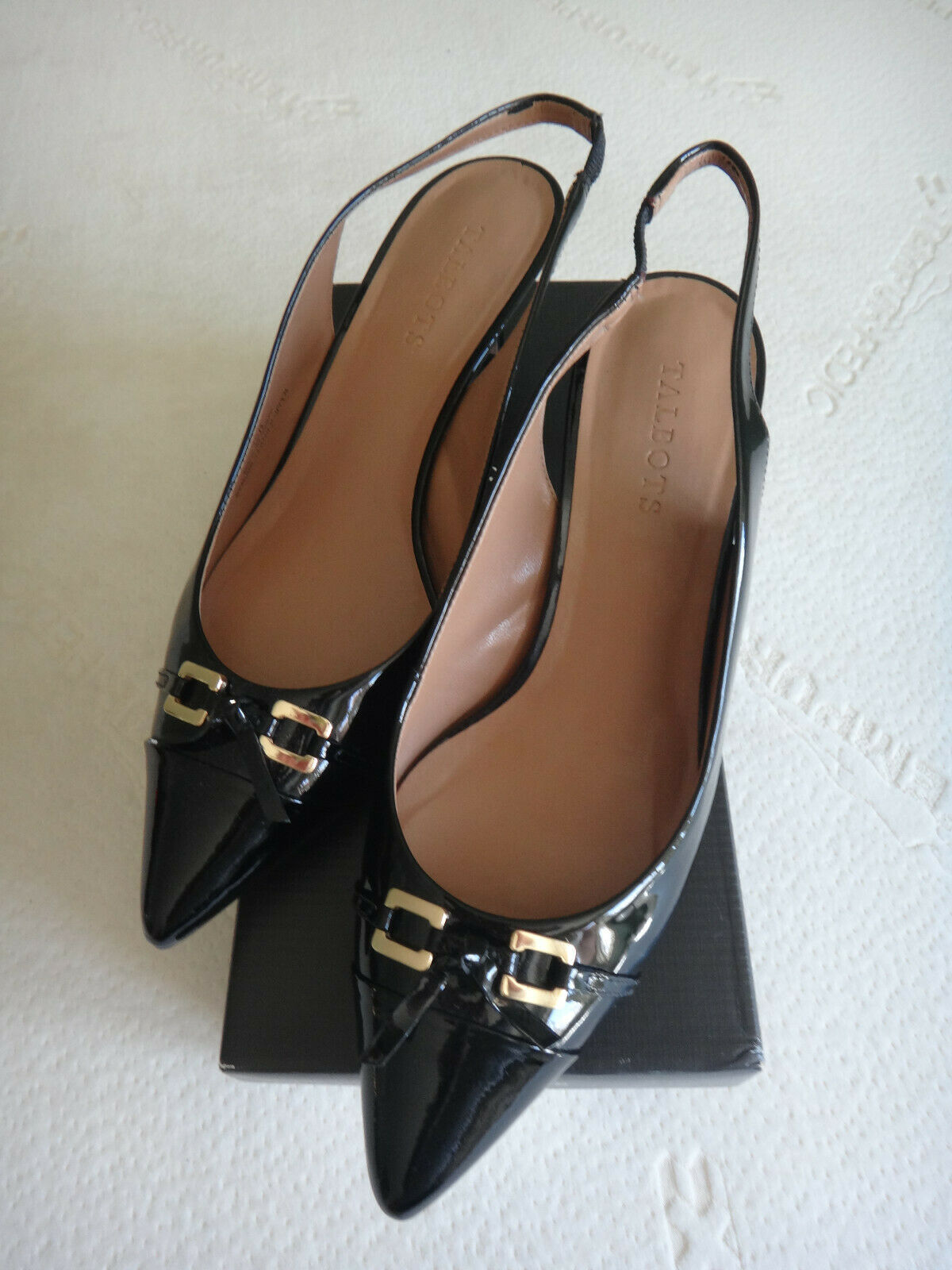 Talbots Dayla nero Patent Leather Slingback Pumps scarpe - Dimensione 10M - in Box