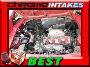 BLACK RED COLD AIR INTAKE INDUCTION KIT FOR 91 92-95 TOYOTA MR2 2.2L NON-TURBO
