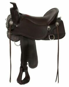 "Tucker Big Bend Saddle 17.5"" Brown Wide Large Rider Flatter Seat T93-720-9211-2"