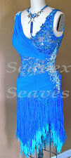 U3497 women ballroom chacha Latin samba salsa dance dress fringing Custom made