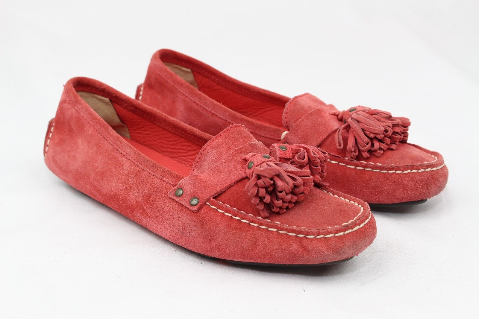 J. Crew Wouomo  rosso Suede Tassels Slip-On Flats Moc Toe Loafers,Dimensione 6,
