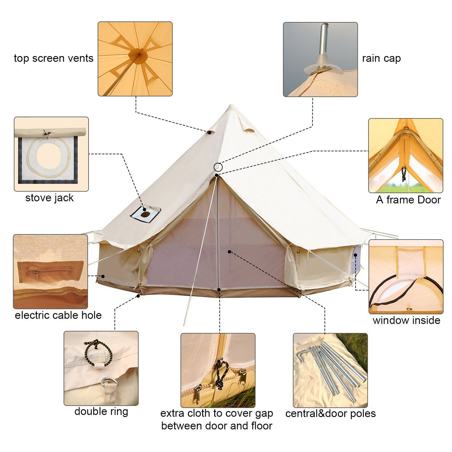 6M Bell Tent Canvas  Waterproof Glamping Party Wedding Large Family British Tents  in stadium promotions