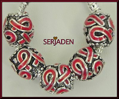 5 Red Awareness Ribbon Antq Silver Spacers European Style 11 *12 &5 mm Hole S140
