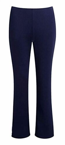 Womens Stretchy Plain Bootleg Trousers Ladies Bootcut Pull On Work Bottom Pant